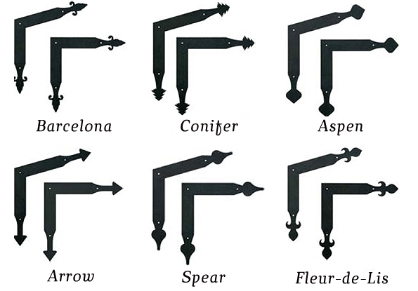 Garage door decorative hardware corners and angle brackets